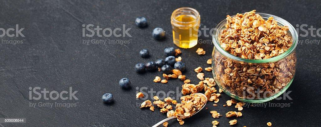 Healthy breakfast Fresh granola, muesli stock photo