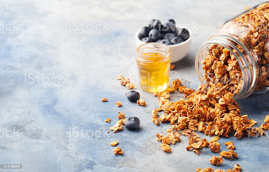 Healthy breakfast Fresh granola, muesli with berries stock photo