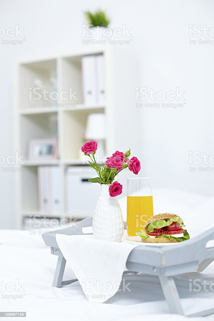 Healthy breakfast in bed royalty-free stock photo