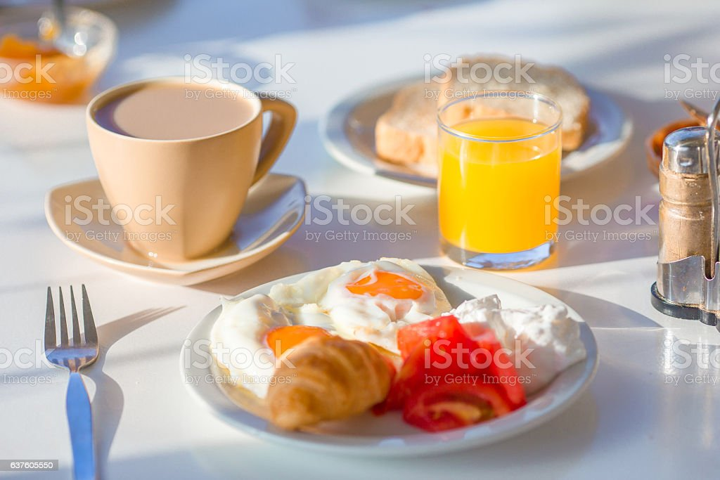 Healthy breakfast in outdoor cafe stock photo