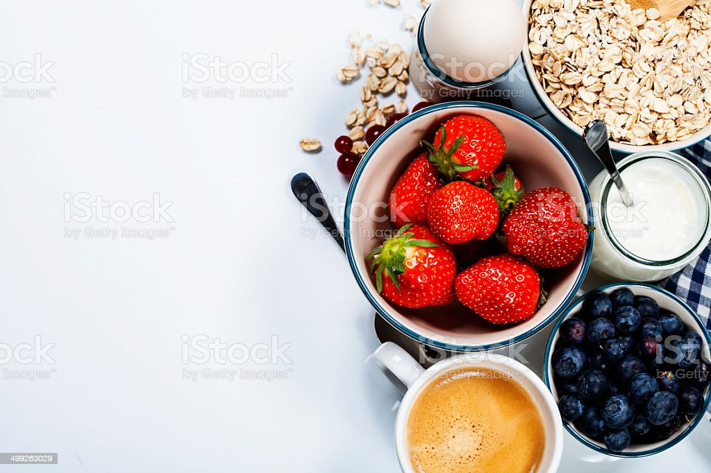 Healthy breakfast - muesli and berries royalty-free stock photo