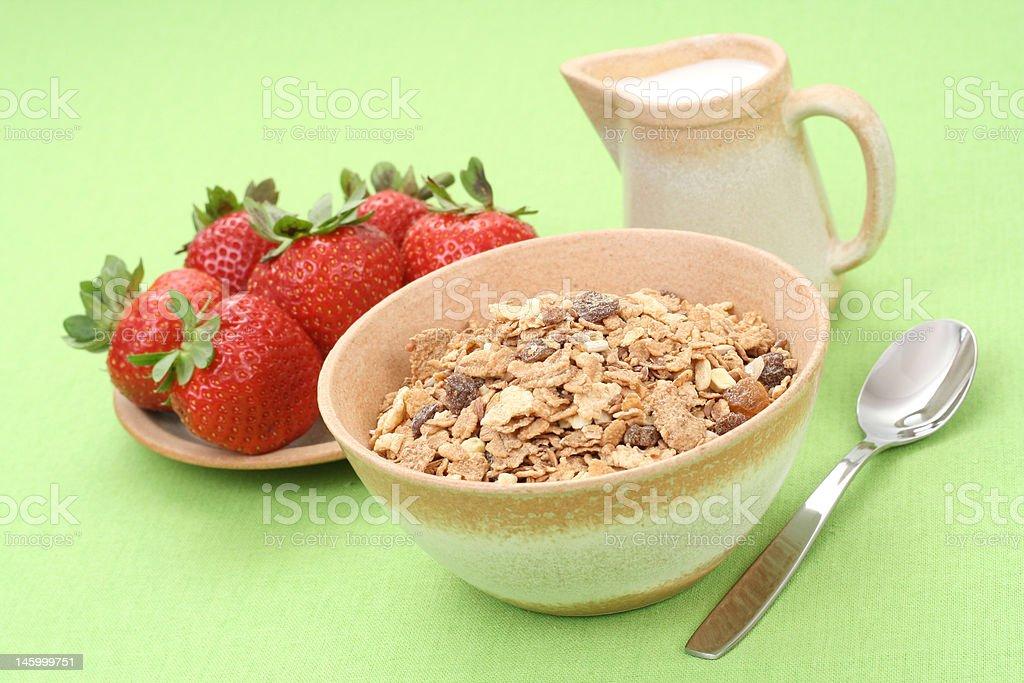 healthy breakfast - musli and strawberries royalty-free stock photo