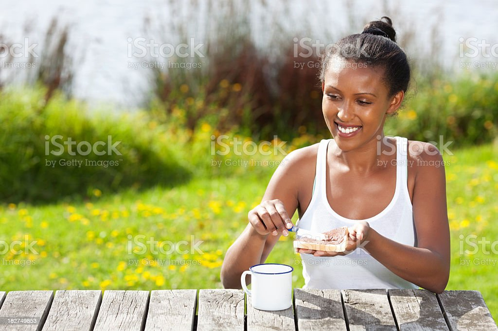 Healthy breakfast on the nature. royalty-free stock photo
