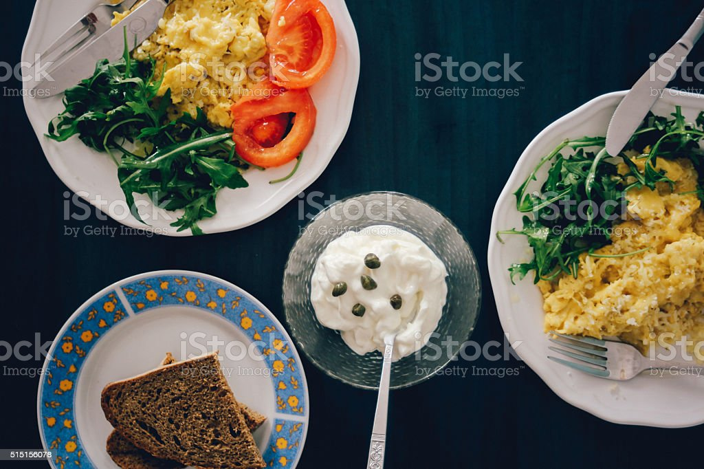 Healthy breakfast on the table for two stock photo
