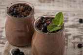 Healthy breakfast or morning snack with chia seeds chocolate pud