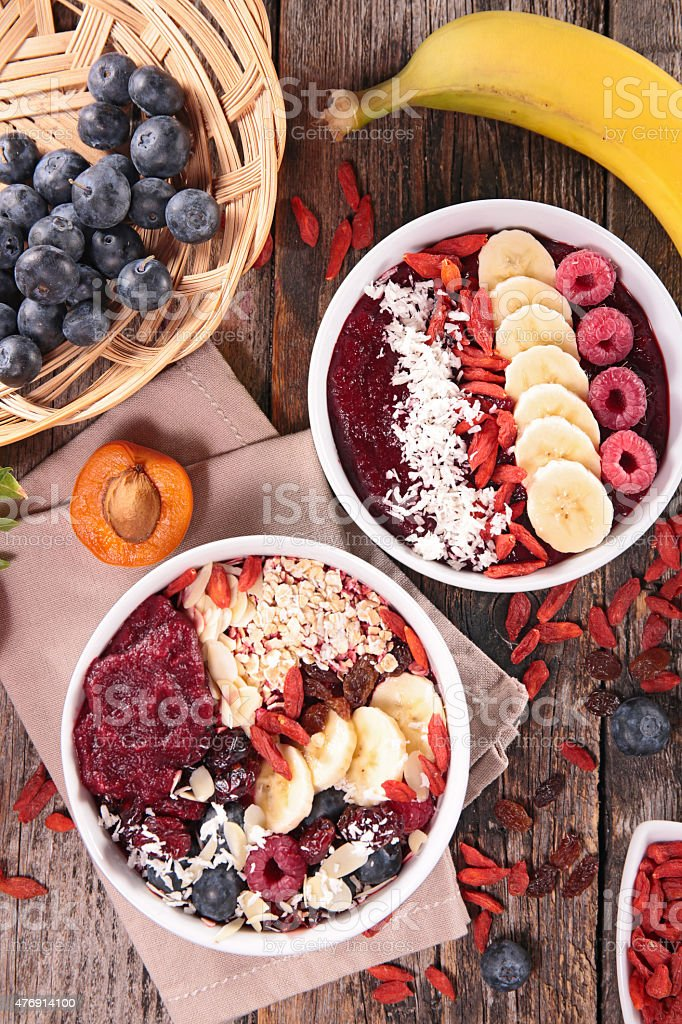 healthy breakfast, smoothie in bowl stock photo