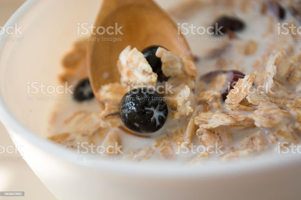 Healthy breakfast with aronia stock photo
