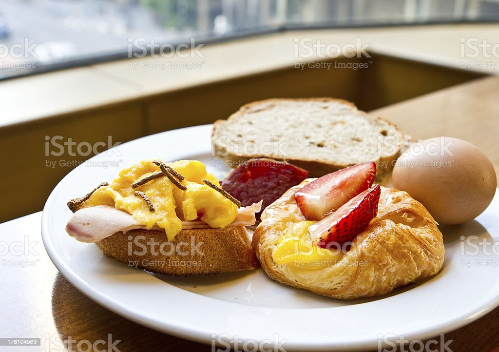 Healthy breakfast with bread, egg and strawberry royalty-free stock photo