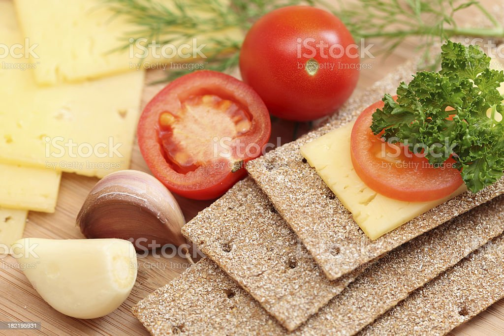 Healthy breakfast with crispbread royalty-free stock photo