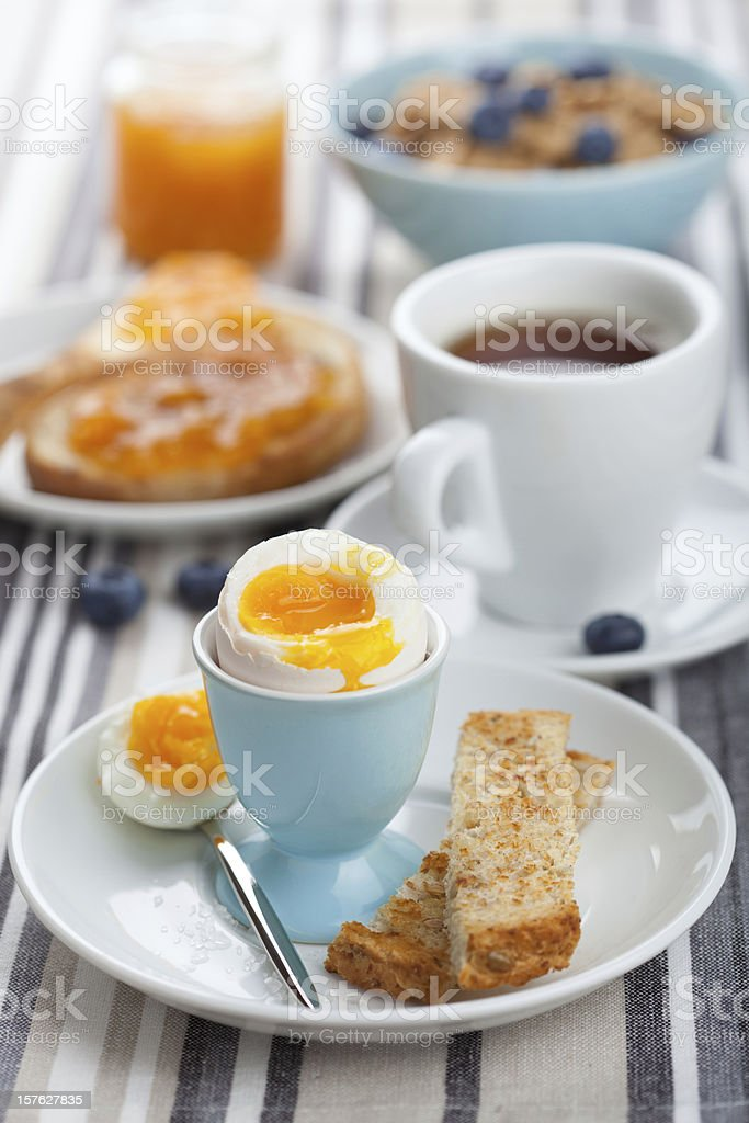 healthy breakfast with egg and coffee royalty-free stock photo