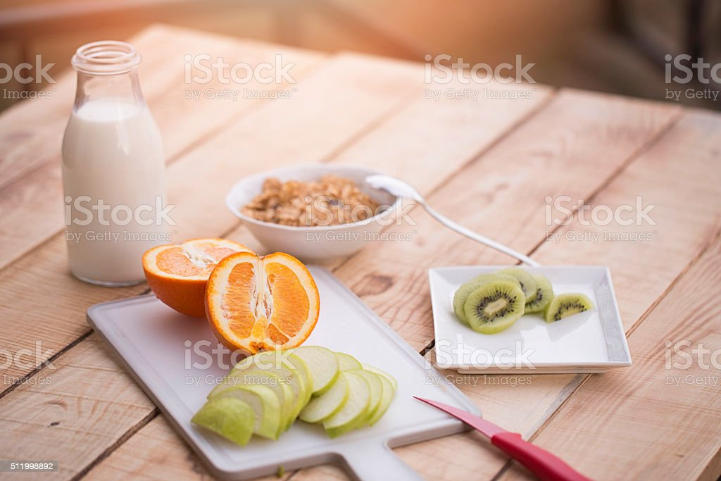 Healthy Breakfast With Muesli And Fresh Fruits stock photo