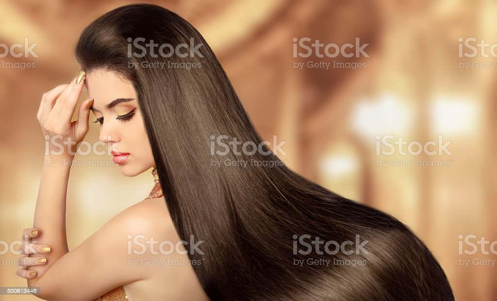 Healthy Brown Hair. Beauty Model girl. Beautiful brunette woman stock photo