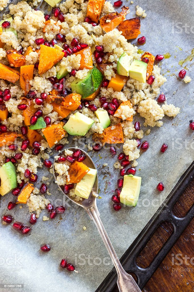 Healthy Butternut Squash Salad with Quinoa stock photo