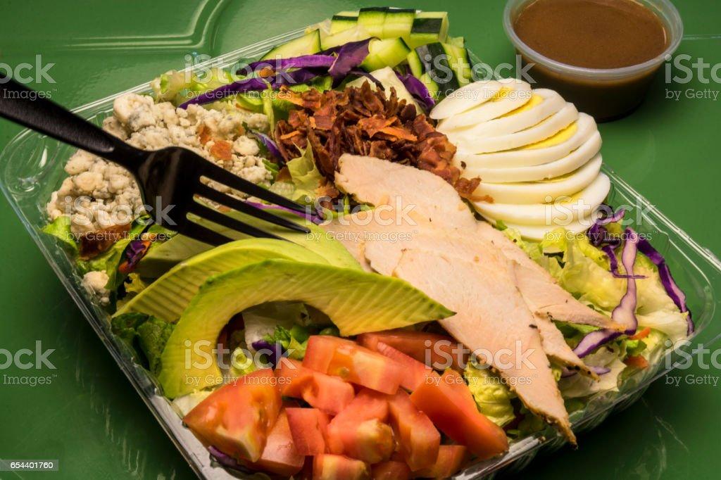 Healthy California Cuisine Avacado Turkey Cobb Salad stock photo