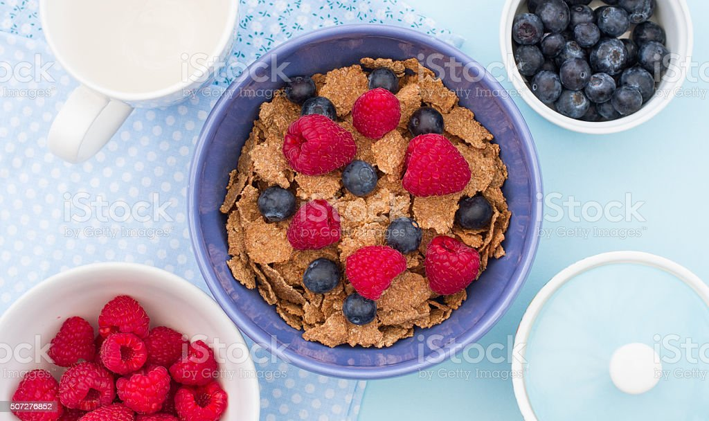 Healthy Cereal And Fruit Breakfast stock photo