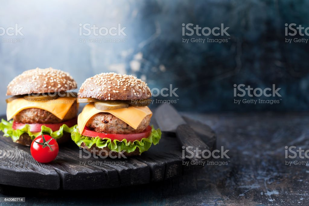 Healthy cheeseburger with whole wheat bun stock photo