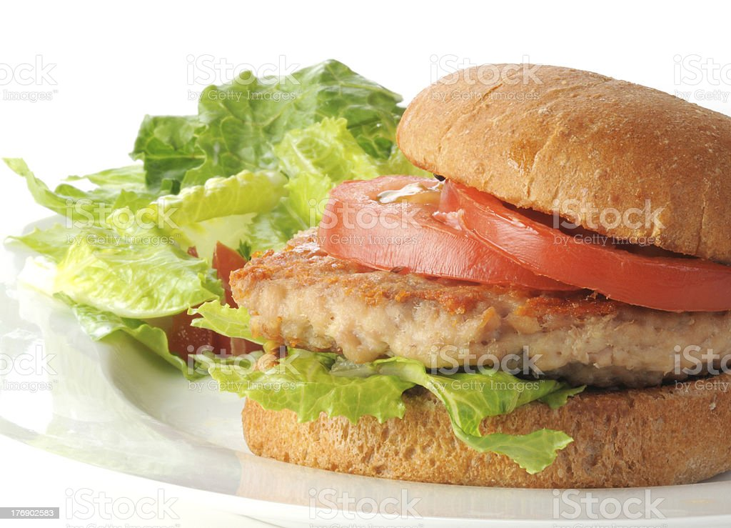 Healthy chicken burger with salad royalty-free stock photo