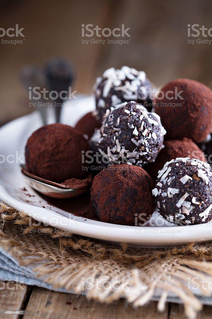 Healthy chocolate truffles stock photo