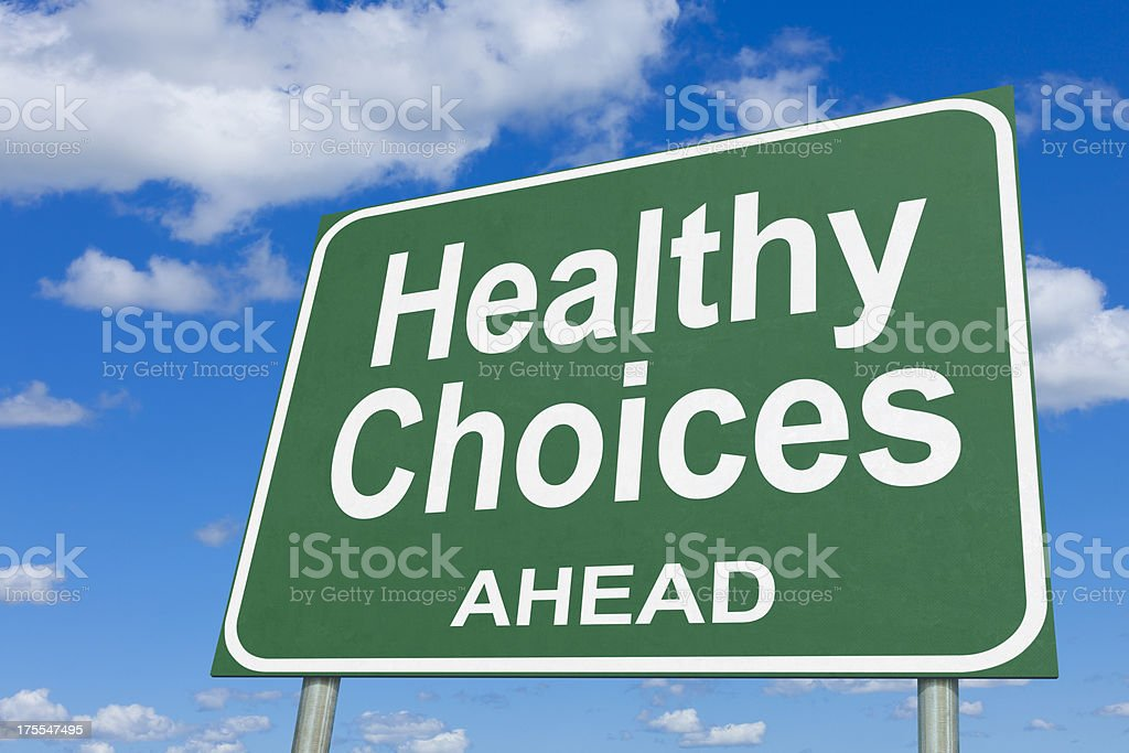 Healthy Choices Highway Sign royalty-free stock photo