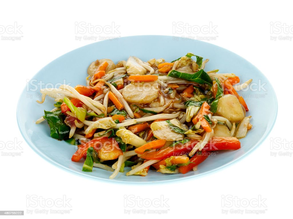 Healthy Cololuful Stir fried Vegetables in a Chow Mein Sauce stock photo
