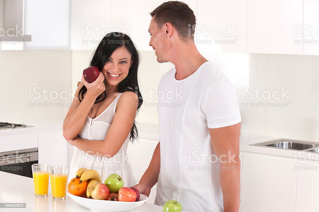 Healthy couple with fruit royalty-free stock photo