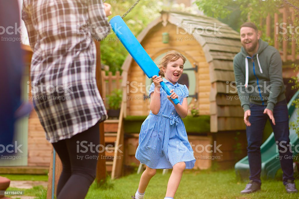 healthy cricket family stock photo