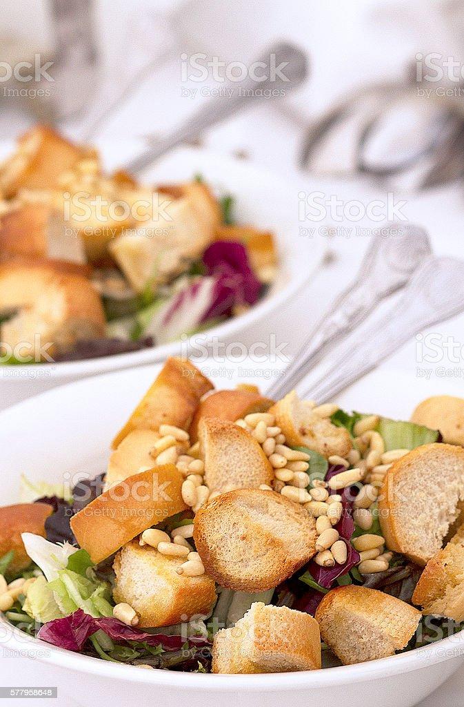 Healthy Crouton Salad stock photo