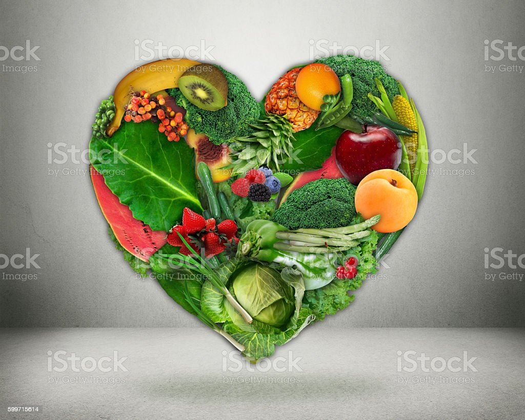 Healthy diet choice and heart health concept stock photo