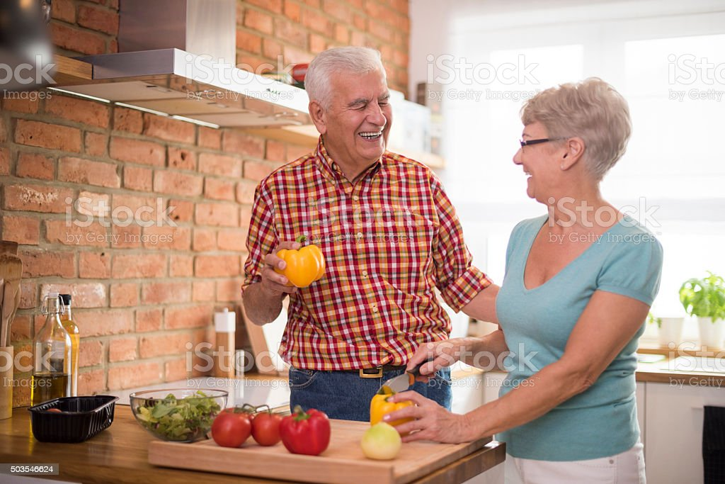 Healthy diet is very important at this age stock photo