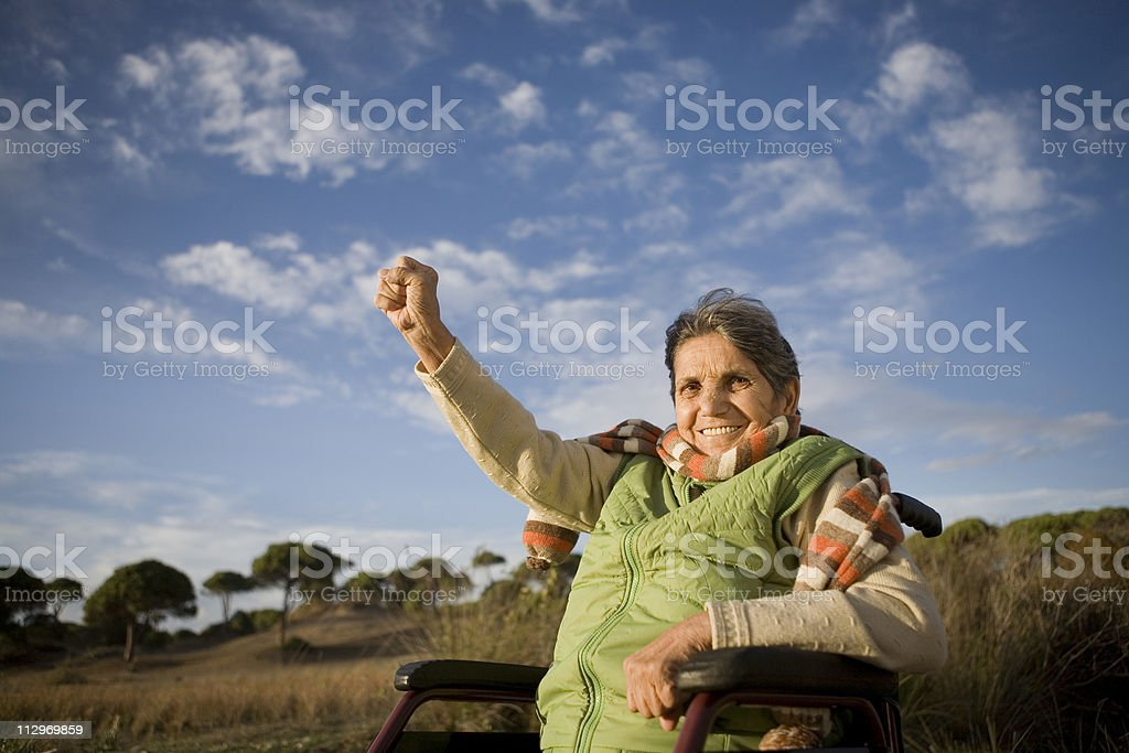 Healthy disabled senior stock photo