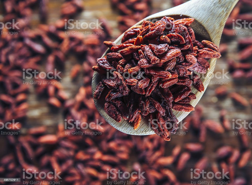Healthy dried goji on a spoon royalty-free stock photo