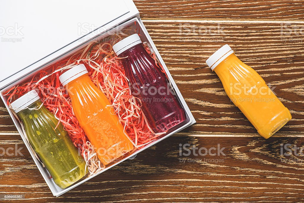 Healthy drink in small bottles stock photo