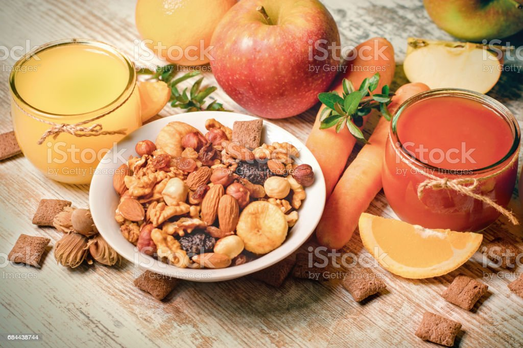 Healthy drinks and healthy food stock photo