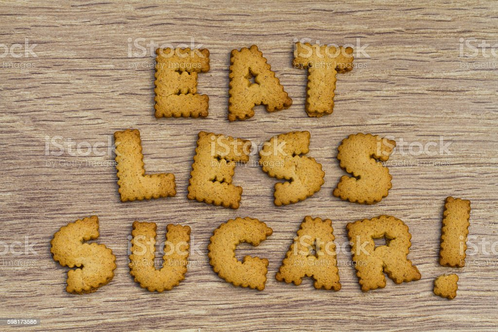 Healthy Eating Advice Stating Eat Less Sugar stock photo