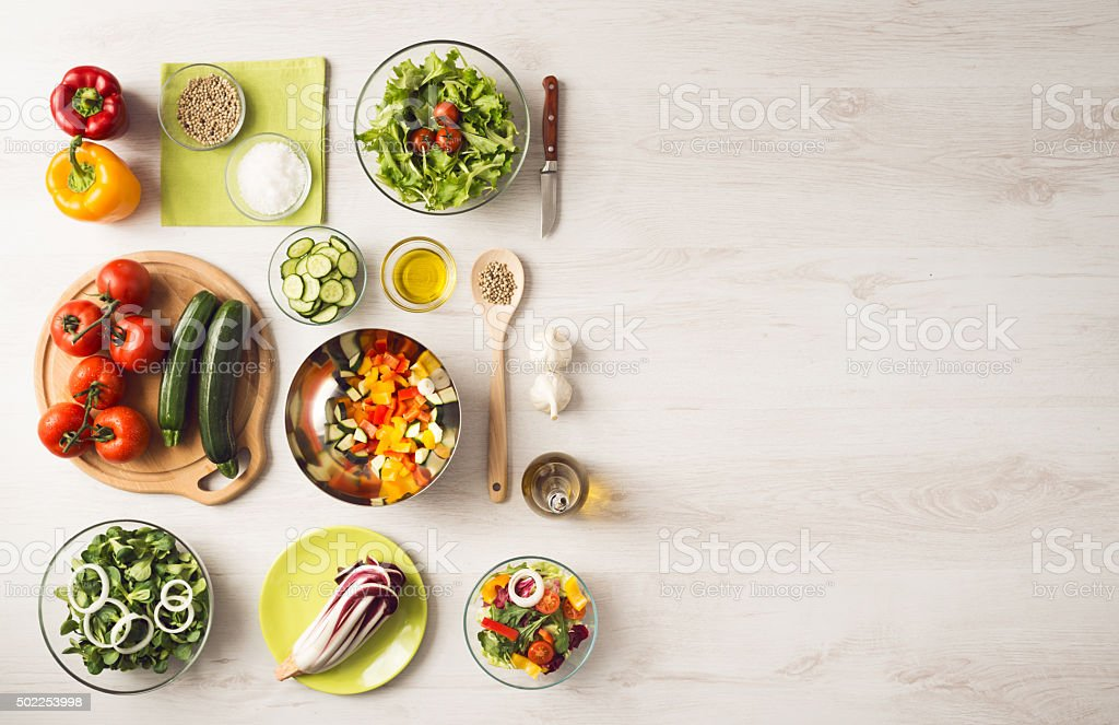 Healthy eating and food preparation at home stock photo