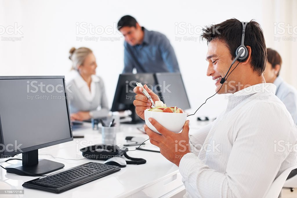 Healthy eating at lunch break stock photo
