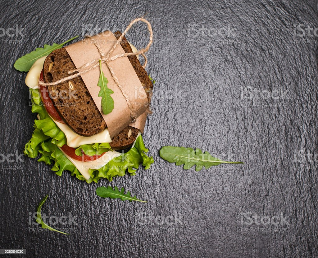 Healthy eating breakfast concept, food background. Closeup of vegetarian sandwich. stock photo