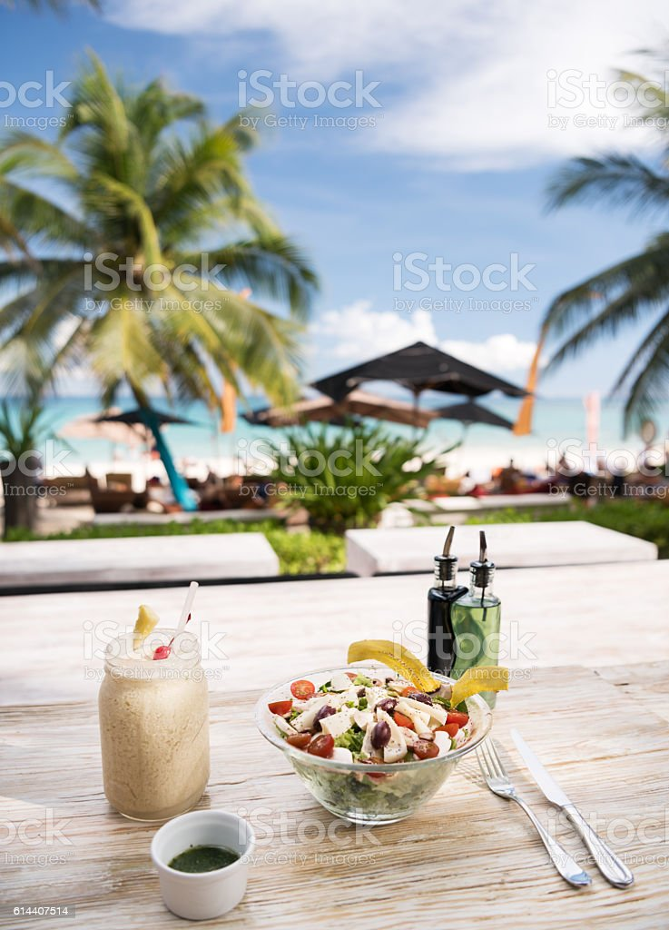 Healthy eating by the Beach on Vacation stock photo