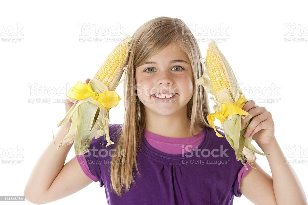 Healthy Eating:  Caucasian Little Girl Holding Corn Ears Head Shoulders royalty-free stock photo