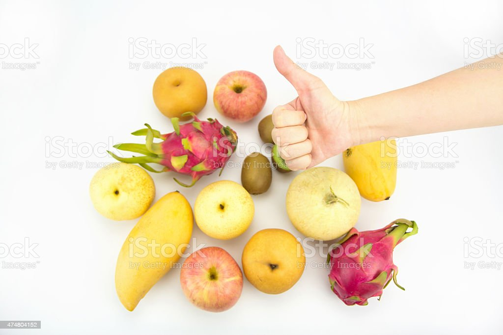Healthy eating concept,Hand with thumb up, focus on hand royalty-free stock photo