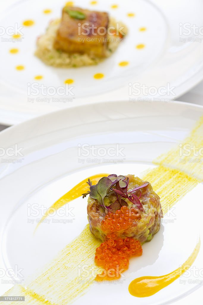 Healthy eating dish of tuna tartare and grill fish royalty-free stock photo