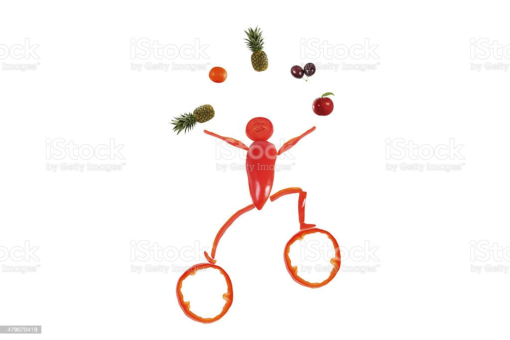 Healthy eating. Little funny juggler made of pepper. royalty-free stock photo