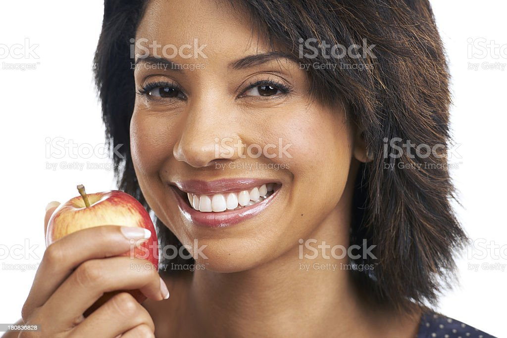 Healthy eating makes her happy royalty-free stock photo