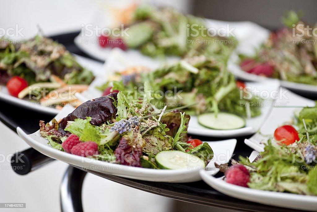 Healthy Eating Mixed Green Salad on Tray at Reception stock photo