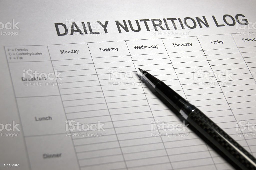 Healthy Eating Nutrition Planner stock photo