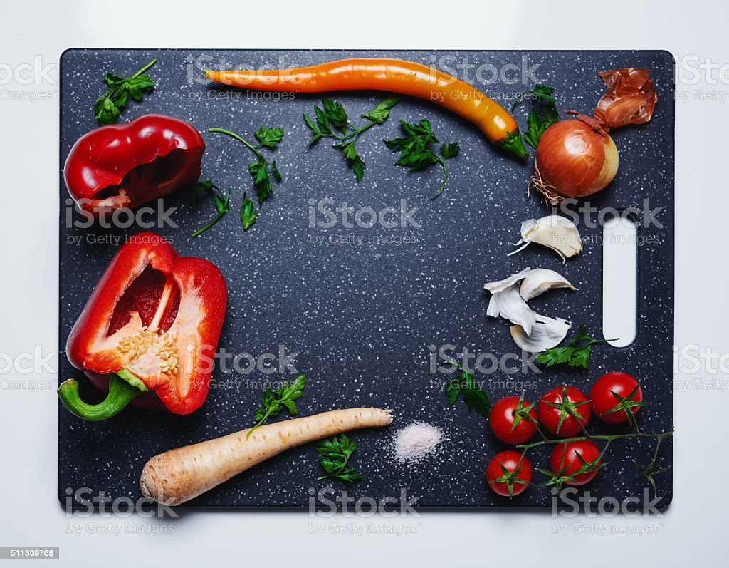 healthy eating on a cutting board stock photo