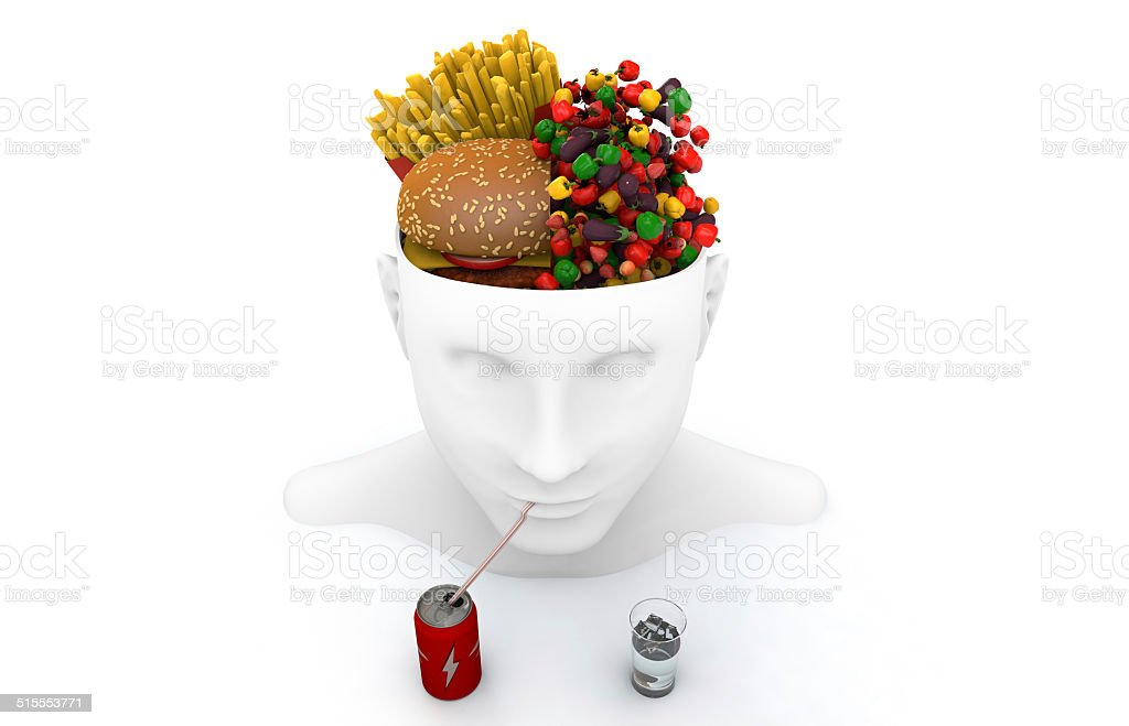 Healthy eating or unhealthy eating. stock photo