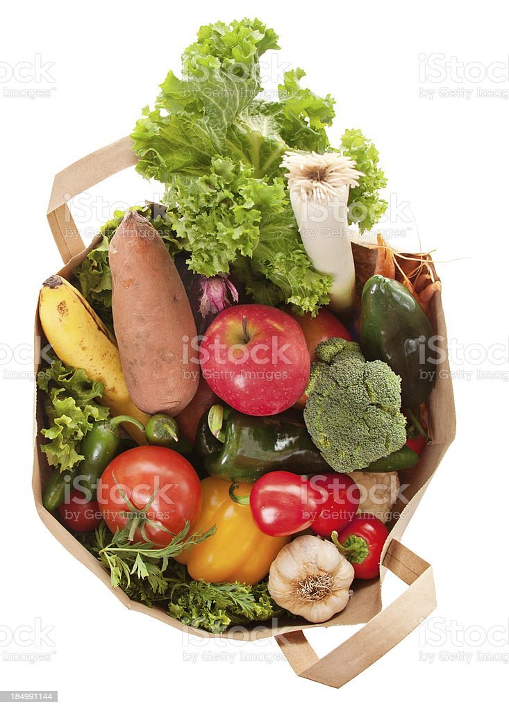 Healthy Eating, Organic Vegetables in Grocery Bag royalty-free stock photo
