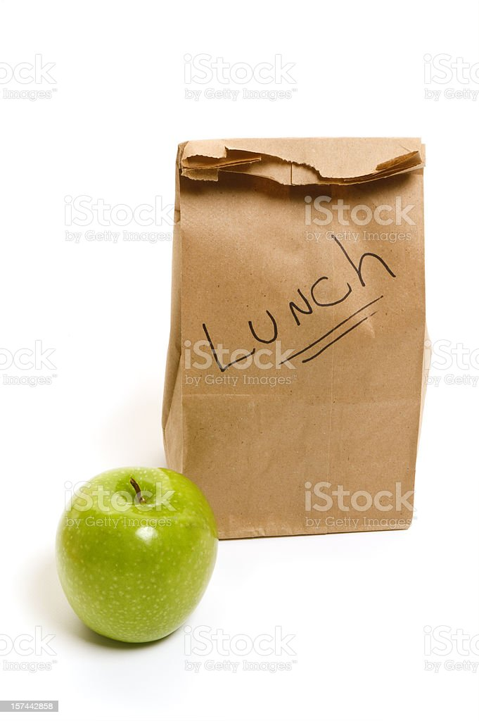 Healthy eating - packed bag lunch for school or office royalty-free stock photo