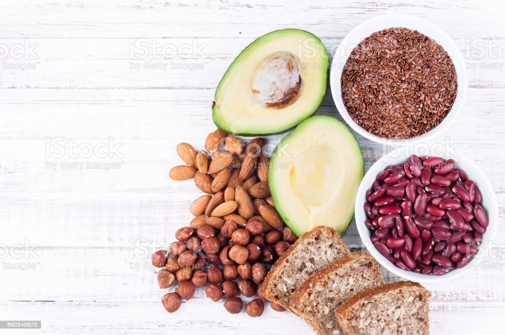 Healthy eating products for healthy heart. Omega 3 and healthy fats. Top view, copy space stock photo